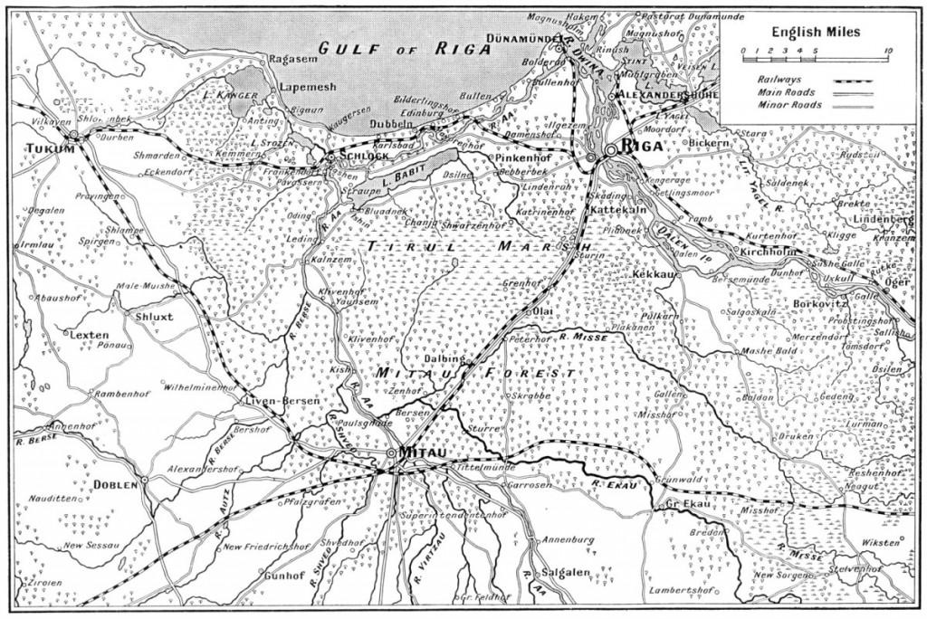 1915 Map of Riga to Mitau
