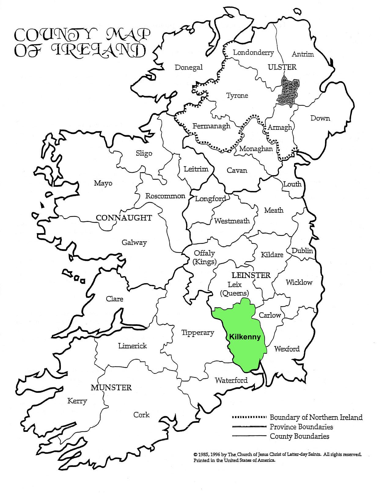 County Kilkenny Ireland Map « « Tobin Family Genealogy Site