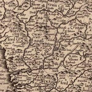 Ireland Published 1564 by Gerhard Mercator, 1512-1594