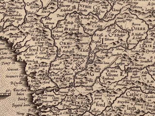 Ireland Published 1564 by Gerhard Mercator, 1512-1594