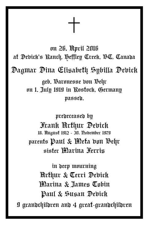 the official death announcement of Dagmar Devick geb. von Behr